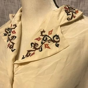 Vintage DVF Silk Embroidered Blouse Fall Small